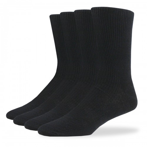 RIBBED CREW SOCKS - 4 PAIR PACK