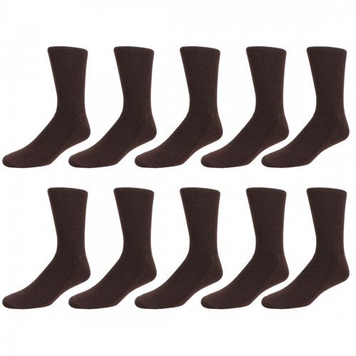 Men's Espresso Ribbed Socks, 10 Pair Pack