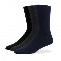Combined Cotton Ribbed Crew Socks - 3 Pair Pack