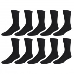 Men's Black Ribbed Socks, 10 Pair Pack